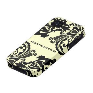 La caja personalizada damasco negro del iPhone iPhone 4 Funda