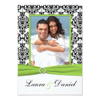 """La cal, blanco, boda negro de la foto del damasco invitación 5"""" x 7"""""""