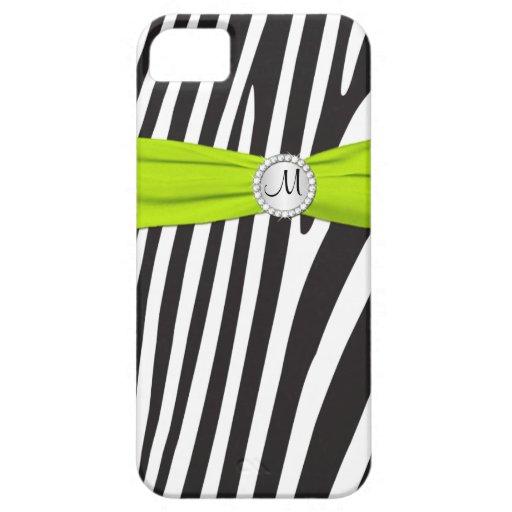 La cal del monograma, negro, la cebra blanca rayó  iPhone 5 Case-Mate protectores