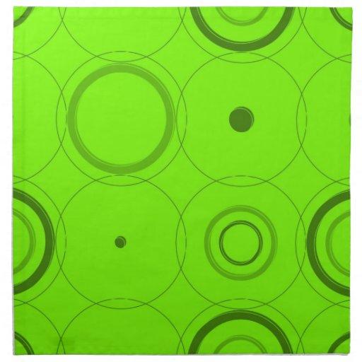 La cal, estallido retro del verde ajusta servillet servilletas imprimidas