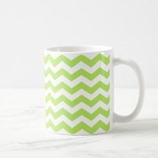La cal verde Chevron raya la taza de café