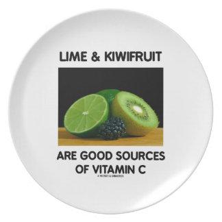 La cal y el kiwi son buenas fuentes de vitamina C Plato