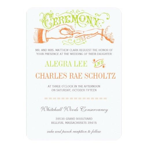 La cal y la tipografía moderna anaranjada del invitación 12,7 x 17,8 cm