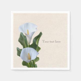 La cala florece el boda nupcial elegante floral servilletas desechables