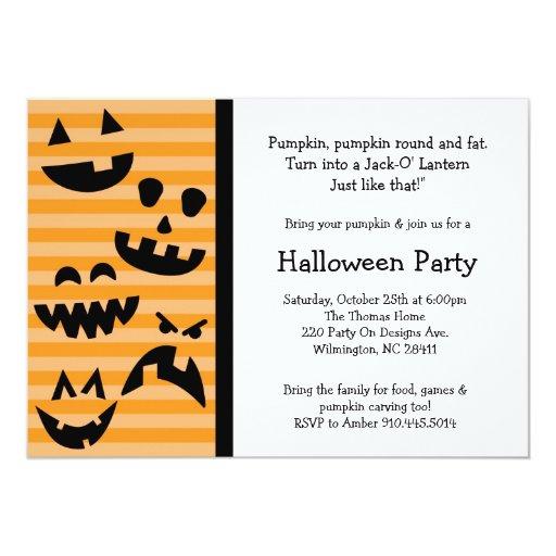 """La calabaza de Halloween que talla la familia del Invitación 5"""" X 7"""""""