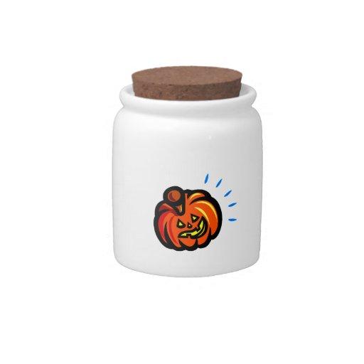 la calabaza gruesa sonriente levanta puntos del az jarras para caramelos