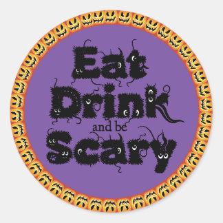 """La calabaza Halloween """"come, bebida y sea"""" Pegatinas Redondas"""