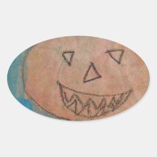 La calabaza sonriente, Halloween embroma la Pegatina Ovalada