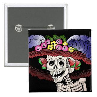 La Calavera Catrina en color Pin Cuadrada 5 Cm