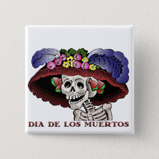 La Calavera Catrina in color Pinback Button