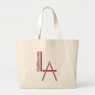 LA California grey red logo design Large Tote Bag