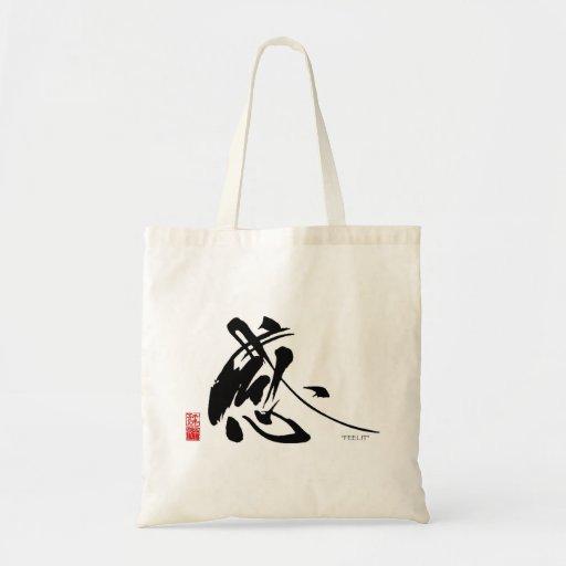 La caligrafía japonesa de Chiyo Bolsa Tela Barata