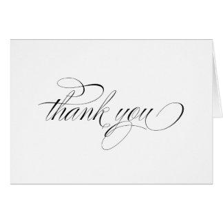 La caligrafía negra formal le agradece tarjeta de
