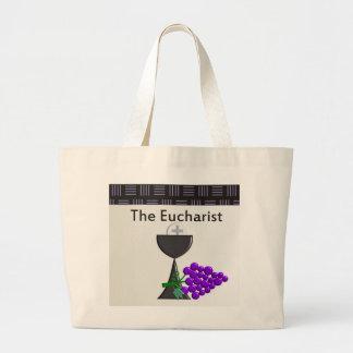 La cáliz de la eucaristía y el diseño de las uvas bolsa tela grande