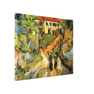 La calle del pueblo de Van Gogh, pasos, Auvers w 2 Impresiones En Lona Estiradas