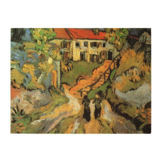 La calle del pueblo de Van Gogh, pasos, Auvers w 2 Impresiones En Madera