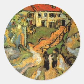 La calle del pueblo de Van Gogh, pasos, Auvers w 2 Pegatina Redonda