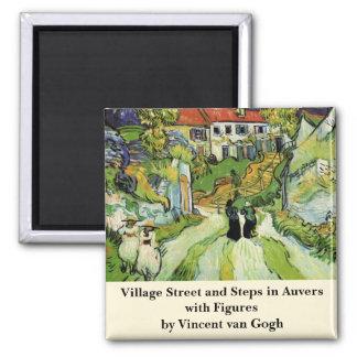 La calle y los pasos Auvers w del pueblo de Van Imán Cuadrado