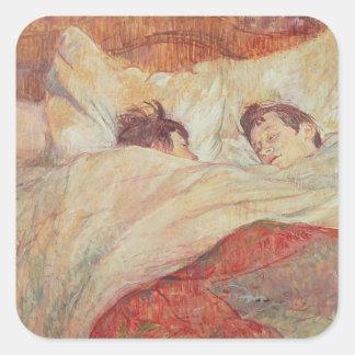 La cama, c.1892-95 pegatina cuadrada