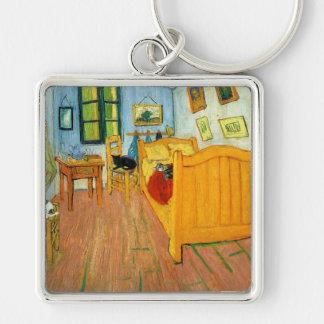 La cama de Van Gogh Llavero Cuadrado Plateado