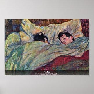 La cama, por Toulouse-Lautrec Enrique Posters