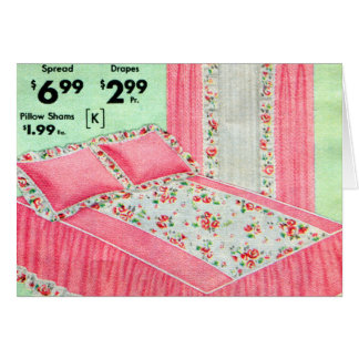 La cama retra del kitsch del vintage separó el tarjeta de felicitación