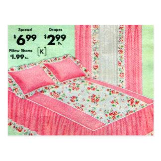 La cama retra del kitsch del vintage separó el tarjetas postales