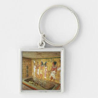 La cámara de entierro en la tumba de Tutankhamun Llavero Cuadrado Plateado