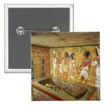 La cámara de entierro en la tumba de Tutankhamun Pin Cuadrado