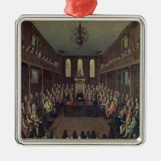 La Cámara de los Comunes en la sesión, 1710 Adorno Navideño Cuadrado De Metal