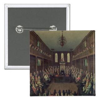 La Cámara de los Comunes en la sesión, 1710 Pin Cuadrada 5 Cm