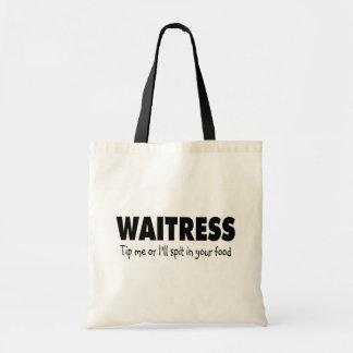 La camarera inclina me o el escupitajo enfermo en  bolsa tela barata