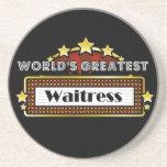 La camarera más grande del mundo posavasos personalizados