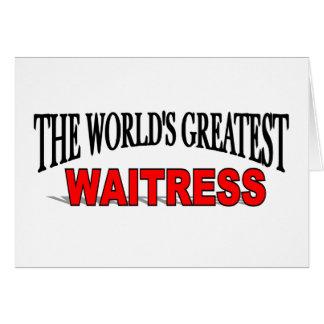 La camarera más grande del mundo tarjeta de felicitación