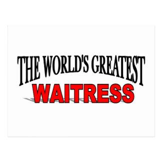 La camarera más grande del mundo tarjetas postales