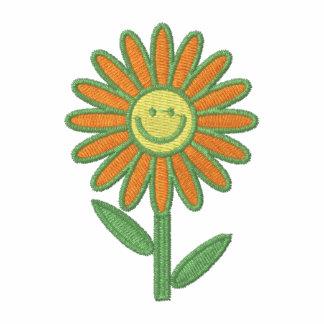 La camisa de las mujeres bordadas flor sonriente a