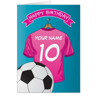 La camisa de los chicas del rosa del fútbol del tarjeta de felicitación