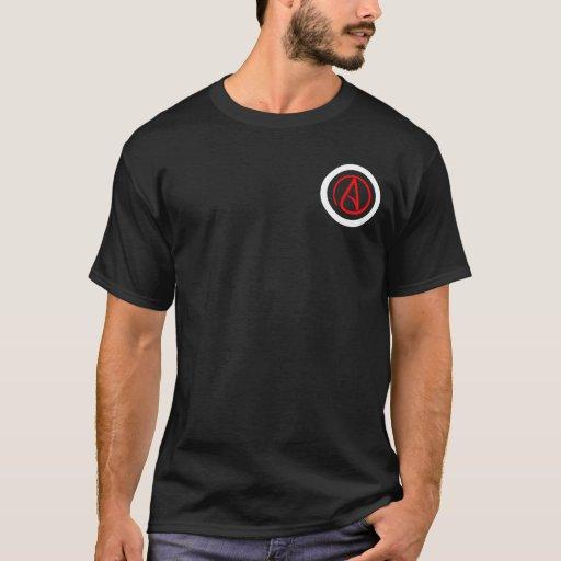 La camisa de los hombres ateos del logotipo