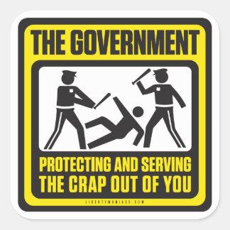 La camisa del gobierno pegatina cuadrada