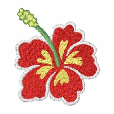La camisa del hibisco de las mujeres bordadas flor