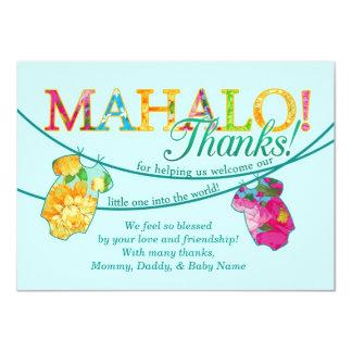 """La camisa hawaiana Onsie Luau Mahalo le agradece Invitación 4.5"""" X 6.25"""""""