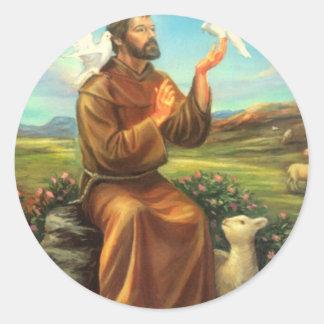 La camiseta a todo color de St Francis, lazo, Etiqueta Redonda