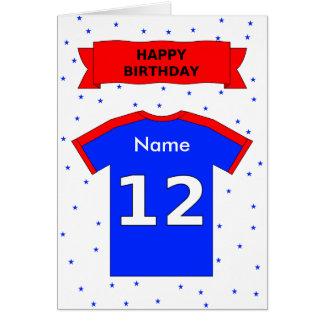 la camiseta azul roja del 12mo cumpleaños añade un tarjeta de felicitación