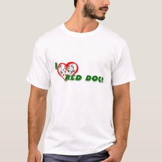 La camiseta básica del amante rojo del perro
