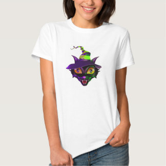 La camiseta básica/el gato fantasmagórico de las poleras