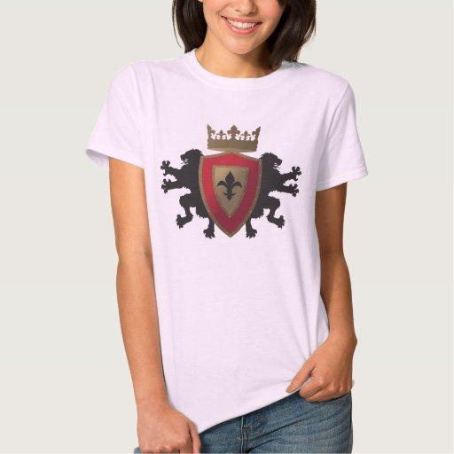 La camiseta cabida del león de Ladie medieval rojo Camisas