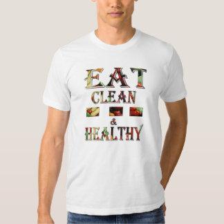 La camiseta/come limpio y sano playeras