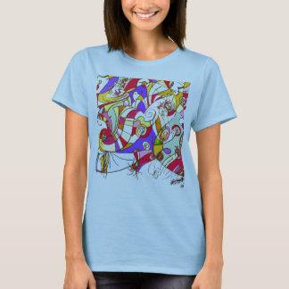 La camiseta con color hace fragmentos de diseño