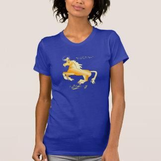 La camiseta de la mujer amarilla floral del unicor