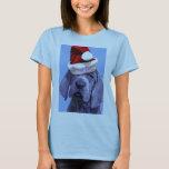 La camiseta de la mujer del navidad del perrito de